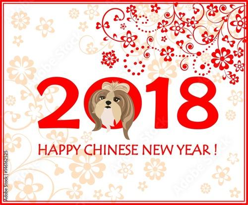 Greeting decorative card with puppy of shi tsu for chinese new year greeting decorative card with puppy of shi tsu for chinese new year 2018 m4hsunfo