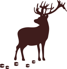 Stag silhouette with the trails on an isolated background. Footprints. Vector illustration.