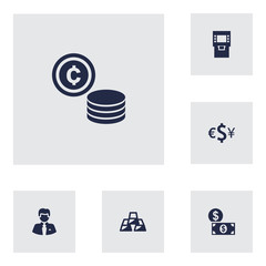 Set Of 6 Sponsor Icons Set.Collection Of Ingot, Money, Cash And Other Elements.