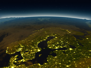 Scandinavian Peninsula from space in the evening