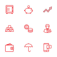 Set Of 9 Budget Outline Icons Set.Collection Of Grow Up, Businessman, Money Box And Other Elements.