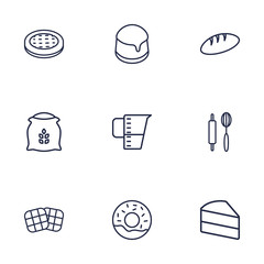 Set Of 9 Stove Outline Icons Set.Collection Of Cake, Bread, Measuring Cup And Other Elements.