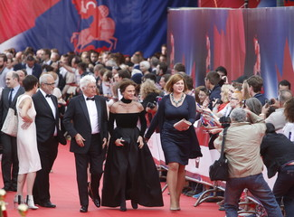 French director Annaud and British actress Bisset arrive for opening ceremony of 37th International Film Festival in Moscow