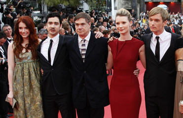 "Director Van Sant and actors Lew, Dallas Howard, Wasikowska and Hopper arrive on the red carpet for the screening of the film ""Sleeping Beauty"" at the 64th Cannes Film Festival"