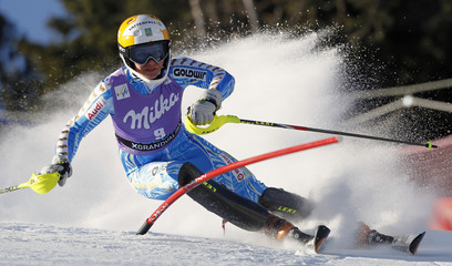 Hansdotter of Sweden competes during women's alpine skiing World Cup slalom race at Soldeu resort