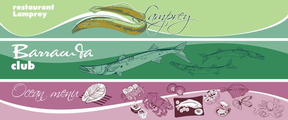 Hand Drawn Marine Food Horizontal Banners