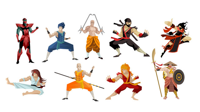 martial artists shaolin warriors and ninja fighters