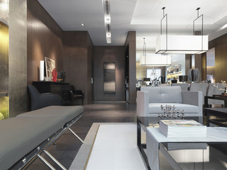 Low angle detail modern living room