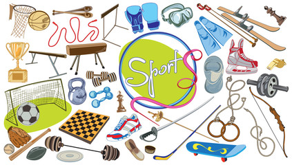 Drawing Sports Elements Set
