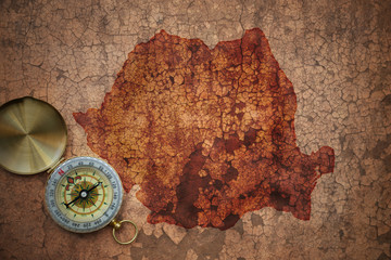 map of romania on a old vintage crack paper