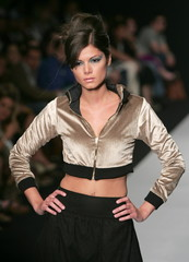 A model presents a creation from Mexican designer Jose Maria Torre Hutt's Autumn/Winter collection d..