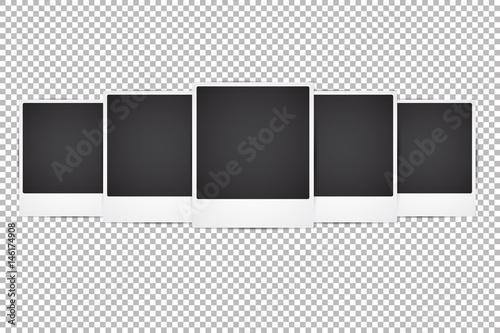 Set Of Vector Instant Photo Frames Realistic Mockup On Transpa Background Vintage