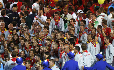 Members of the Belgium team march in during the closing ceremony of the London 2012 Olympic Games at the Olympic Stadium