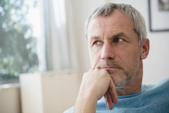 Pensive older Caucasian man