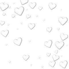 Cutout white paper hearts. Abstract scattered pattern with cutout white paper hearts on white background. Vector illustration.