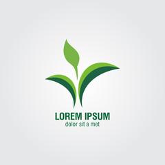 Green leaves figure logo vector eps10