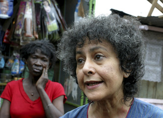 Irene Khan Amnesty International secretary-general, talks during an interview with Reuters as she tours the sprawling Kibera slums in Kenya's capital Nairobi