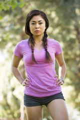 Portrait of serious Asian woman