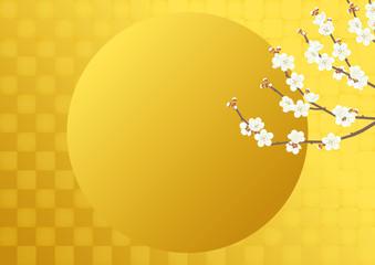 白梅と金箔 日本風の背景素材