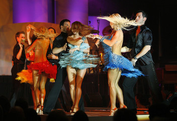 The cast of the television series Dancing with the Stars performs during the 15th annual Race to Erase MS gala in Century City
