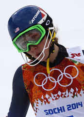 Shiffrin of the U.S. reacts in the finish area after competing in the first run of the women's alpine skiing slalom event during the 2014 Sochi Winter Olympics at the Rosa Khutor Alpine Center