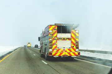 Fire Truck on Snowy Highway
