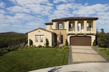 Front exterior Mediterranean style home