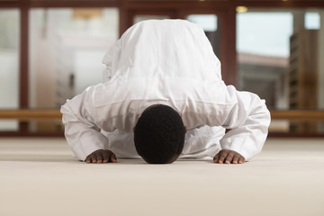 Muslim Man Is Praying In The Mosque