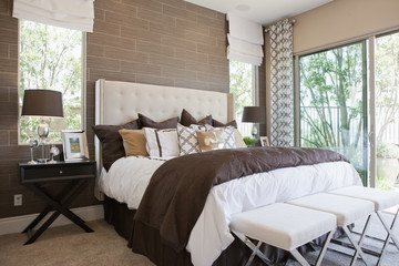 Interior of contemporary bedroom
