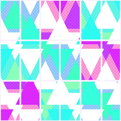 Seamless bright geometrical triangles pattern on white