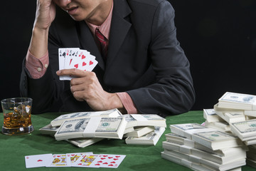 The gambler stress when he play poker lost