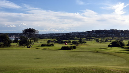 Panoramic view of the golf course from Long Reef Headland (Sydney, NSW, Australia).