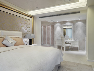 Elegant bedroom with printed wall paper