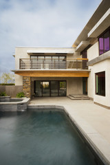 Rear Exterior of Modern Home and Swimming Pool