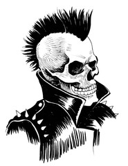 Punk is dead. Ink drawing of a dead punk.