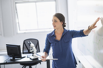 Female doctor pointing to whiteboard in hospital