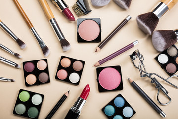 Different Type Of Makeup Brushes And Make-up Products