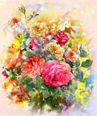 Abstract colorful flowers rose watercolor painting. Spring multicolored in .nature