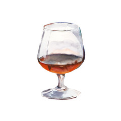The cognac glass isolated on a white background, a watercolor illustration in hand-drawn style.