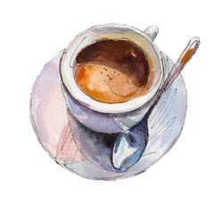 The coffee cup isolated on white background, watercolor illustration in hand-drawn style.