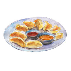 The national dish momos isolated on white background, watercolor illustration in hand-drawn style.