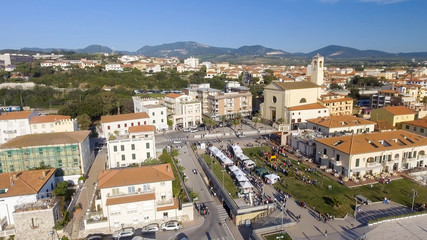 Square of San Vincenzo, aerial view of Tuscany