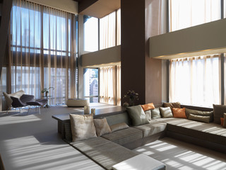Modern living room with step down to sofa