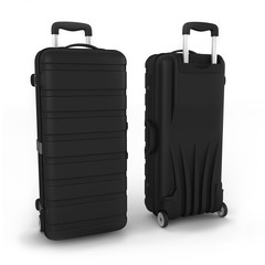 Black suitcase on a white background. 3d rendering.