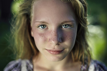 Portrait of Caucasian girl with freckles