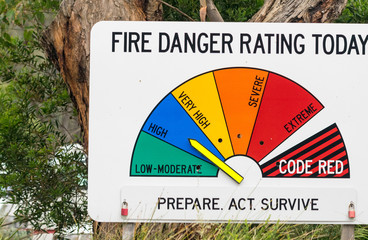 VICTORIA, AUSTRALIA - NOVEMBER 19, 2015: Fire Danger sign along countryside road. This is a warning sign against fire danger