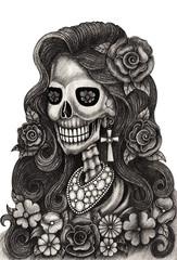 Art women skull day of the dead. Art design skull hand pencil drawing on paper.