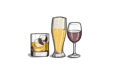 Illustrazione di alcool, vino, birra