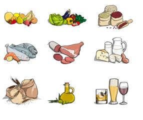 Illustrazione di diversi tipi di alimenti nutrizionali tra cui frutta, verdura, carne, latte, pesce, alcol, olio