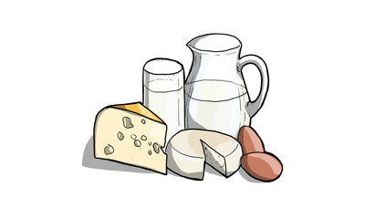 Poster de jardin Produit laitier Illustrazione di latte, latticini e formaggio in cucina